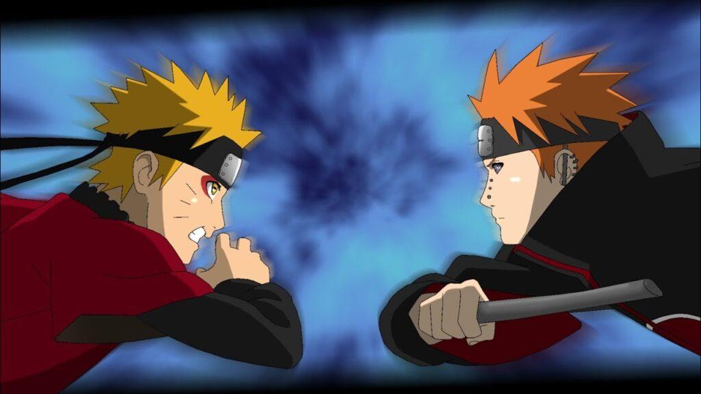 Naruto en modo sabio contra Pain